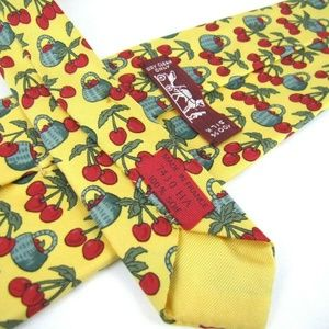 HERMES PARIS Tie 7430 HA Yellow Red Cherry Fruit